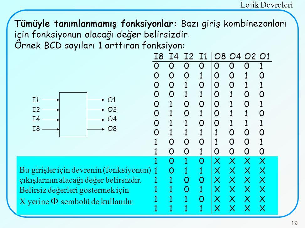 Örnek BCD sayıları 1 arttıran fonksiyon:
