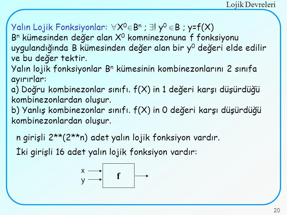 f Yalın Lojik Fonksiyonlar: X0Bn ; ! y0 B ; y=f(X)