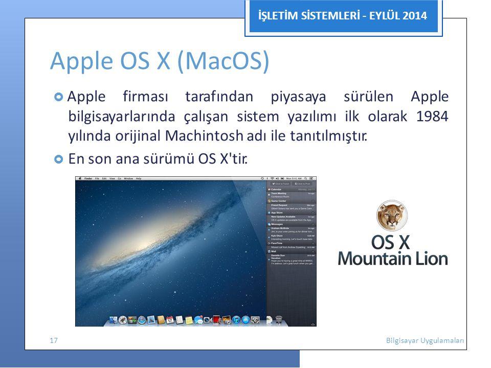 Apple OS X (MacOS) İŞLETİM SİSTEMLERİ - EYLÜL 2014