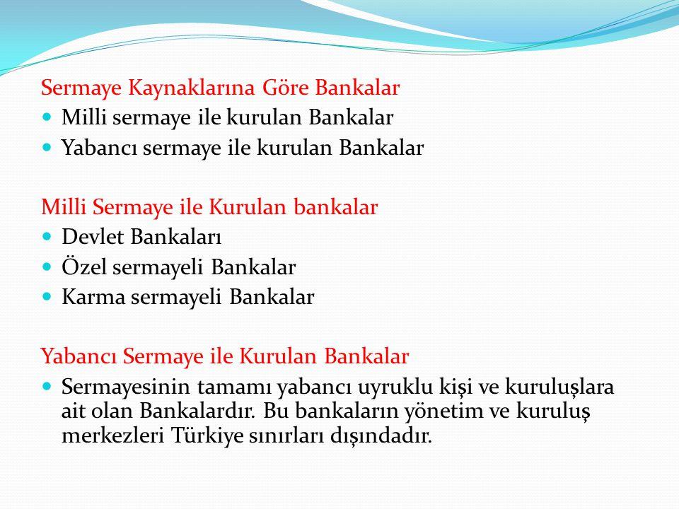 Sermaye Kaynaklarına Göre Bankalar