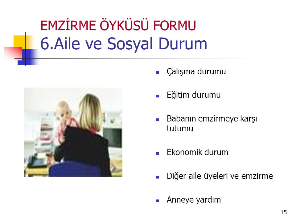 EMZİRME ÖYKÜSÜ FORMU 6.Aile ve Sosyal Durum