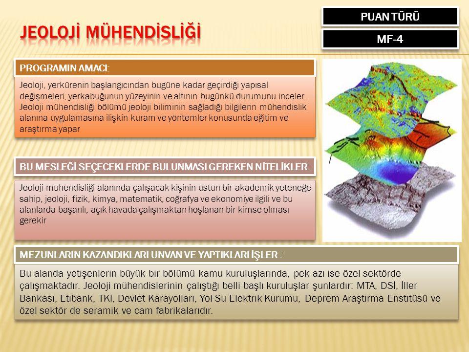JEOLOJİ MÜHENDİSLİĞİ PUAN TÜRÜ MF-4 PROGRAMIN AMACI: