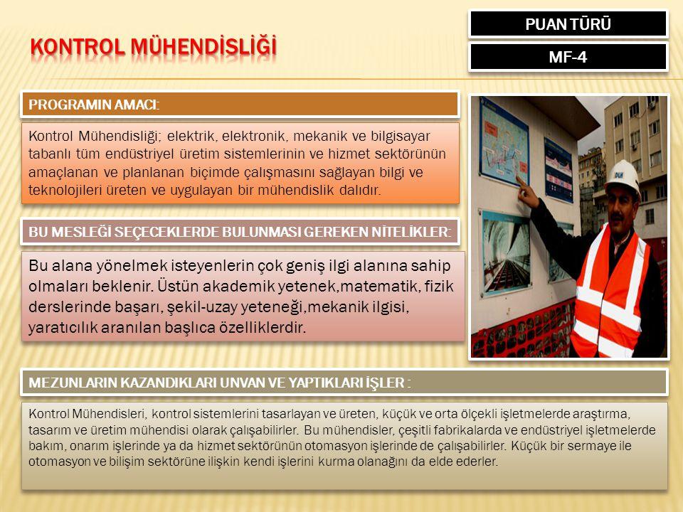 Kontrol MÜHENDİSLİĞİ PUAN TÜRÜ MF-4