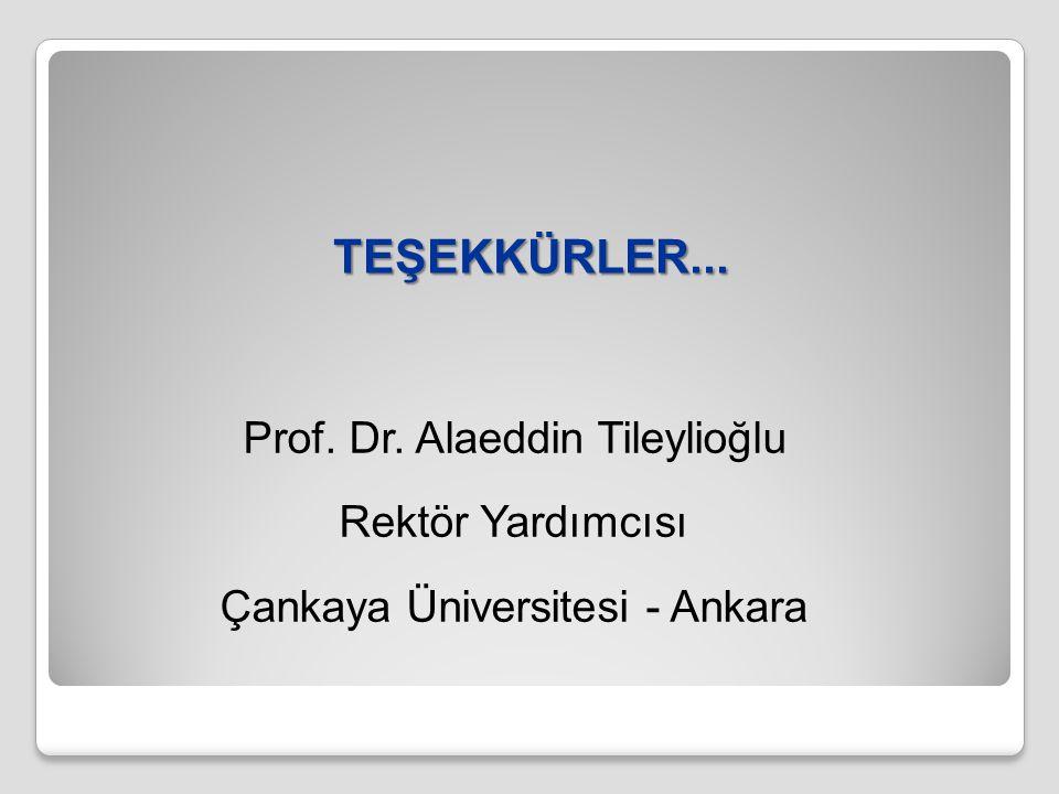 TEŞEKKÜRLER... Prof. Dr. Alaeddin Tileylioğlu Rektör Yardımcısı