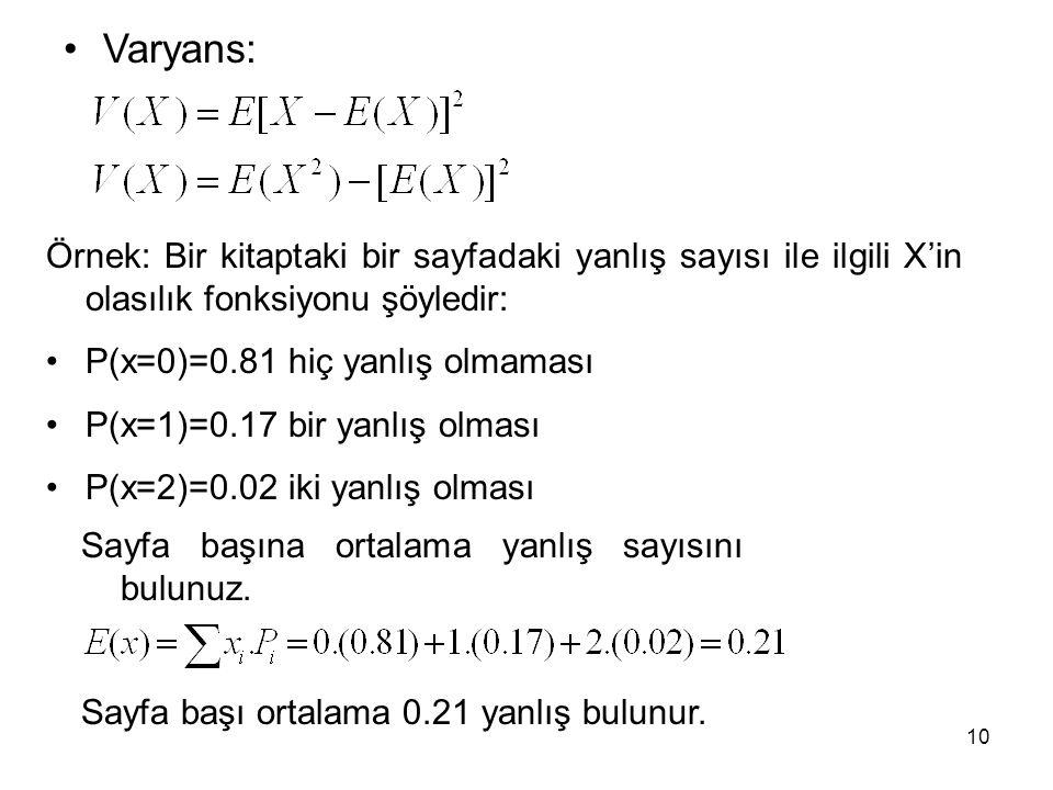 Varyans: Örnek: Bir kitaptaki bir sayfadaki yanlış sayısı ile ilgili X'in olasılık fonksiyonu şöyledir: