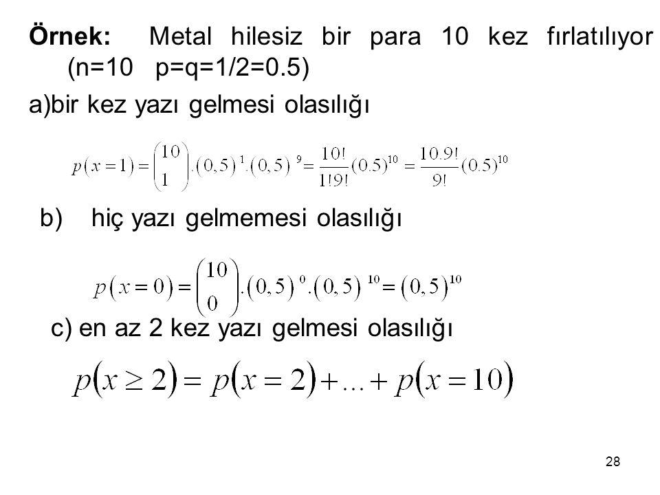 Örnek: Metal hilesiz bir para 10 kez fırlatılıyor (n=10 p=q=1/2=0.5)