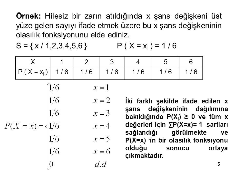 Örnek: Hilesiz bir zarın atıldığında x şans değişkeni üst yüze gelen sayıyı ifade etmek üzere bu x şans değişkeninin olasılık fonksiyonunu elde ediniz.