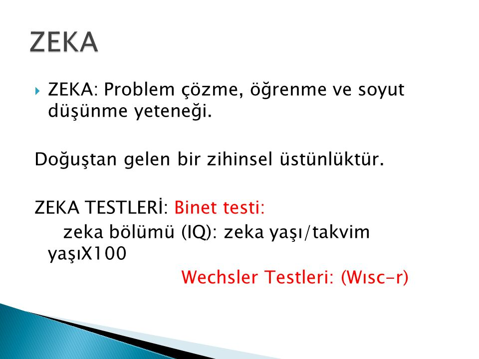 ZEKA ZEKA: Problem çözme, öğrenme ve soyut düşünme yeteneği.