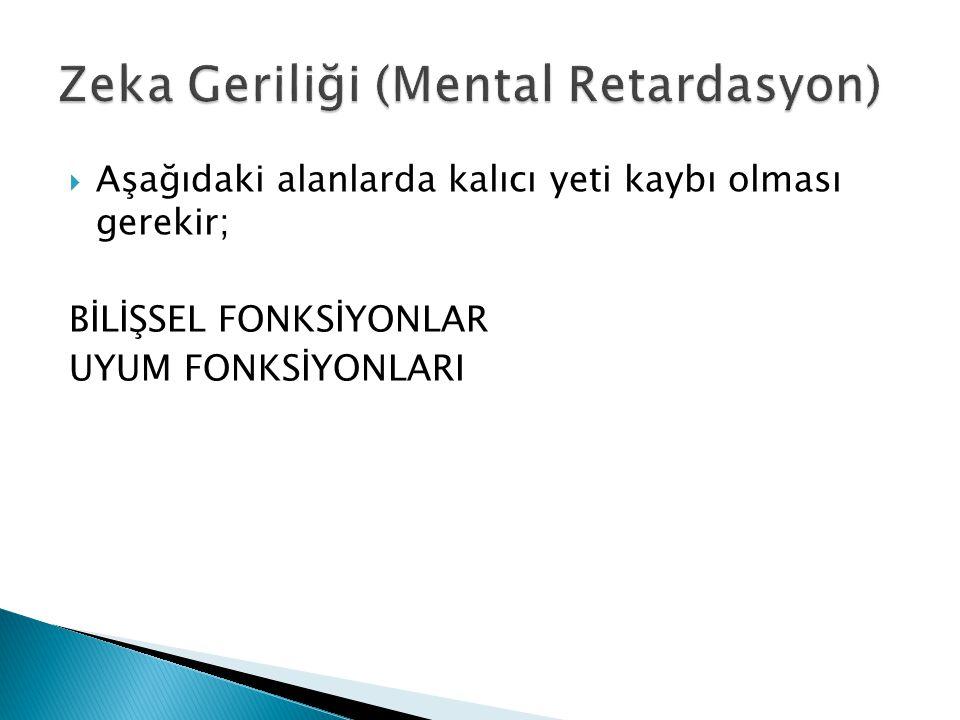 Zeka Geriliği (Mental Retardasyon)