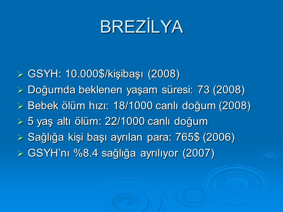 BREZİLYA GSYH: 10.000$/kişibaşı (2008)