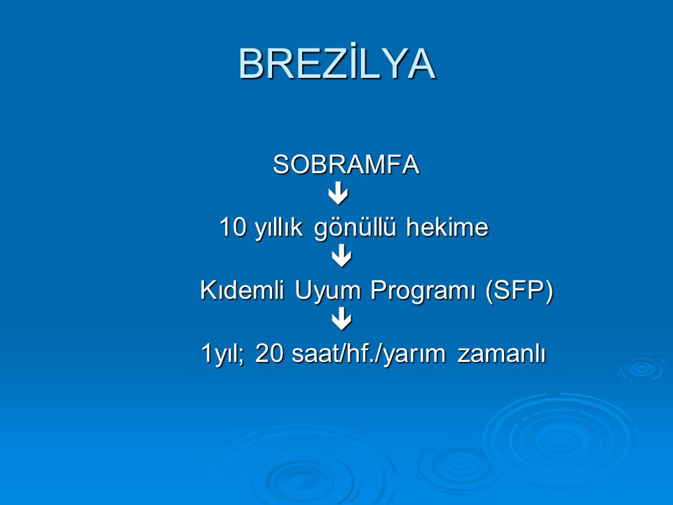 BREZİLYA SOBRAMFA  10 yıllık gönüllü hekime Kıdemli Uyum Programı (SFP) 1yıl; 20 saat/hf./yarım zamanlı