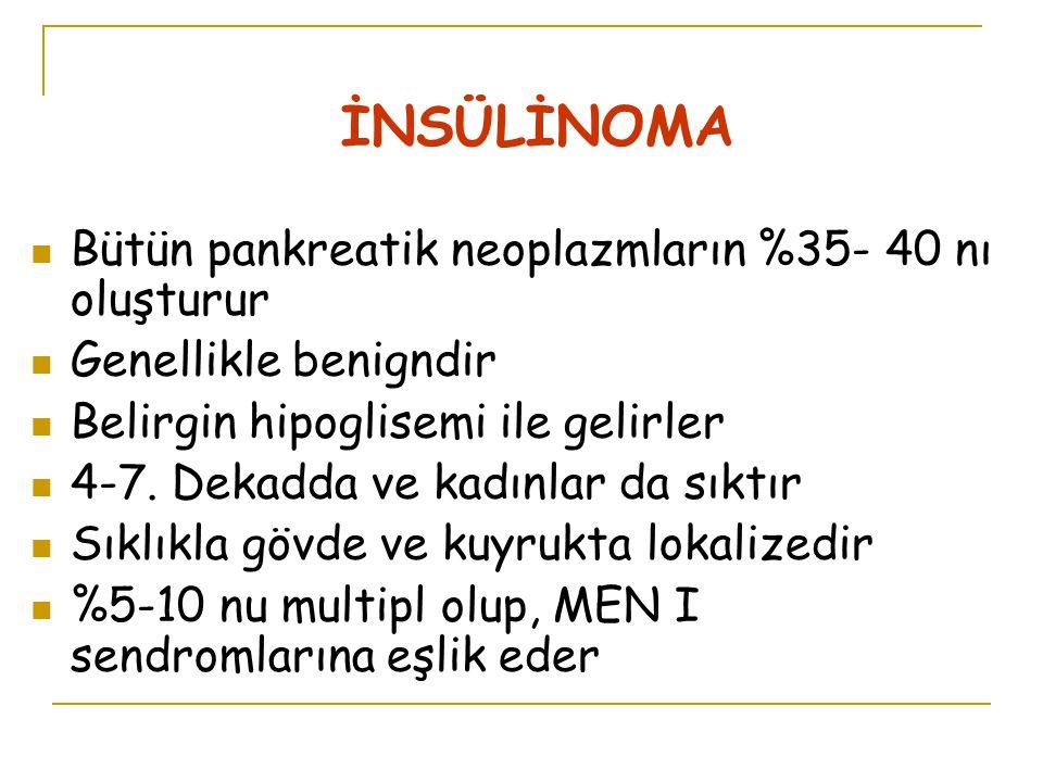 İNSÜLİNOMA Bütün pankreatik neoplazmların %35- 40 nı oluşturur