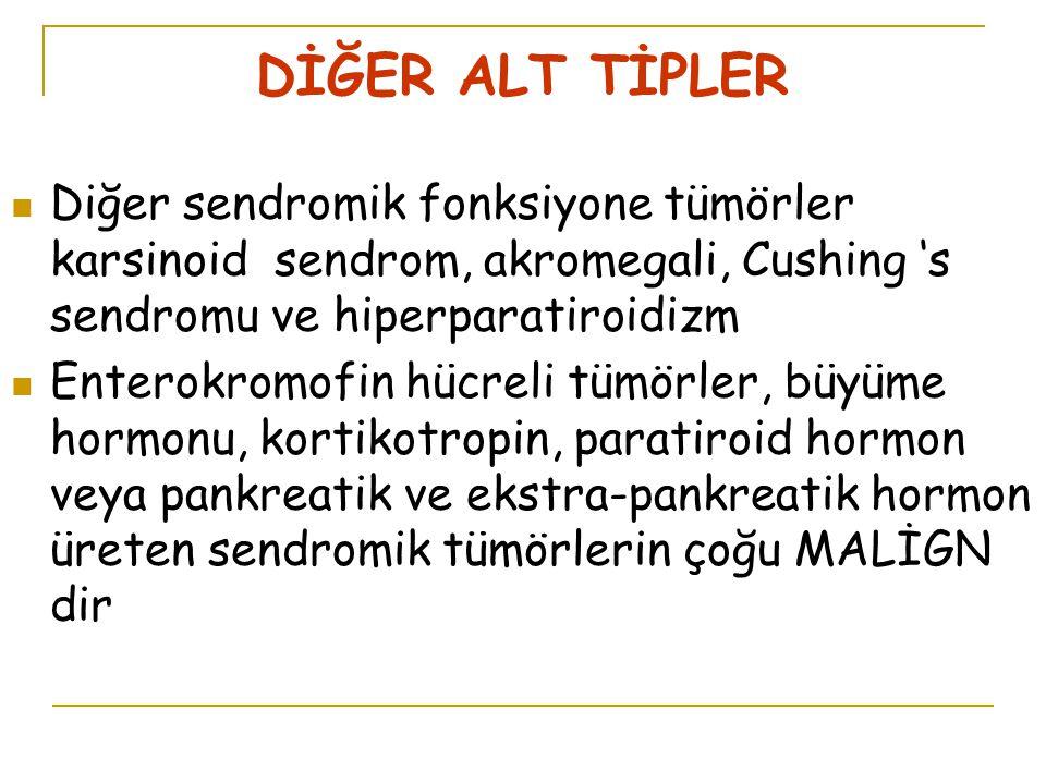 DİĞER ALT TİPLER Diğer sendromik fonksiyone tümörler karsinoid sendrom, akromegali, Cushing 's sendromu ve hiperparatiroidizm.