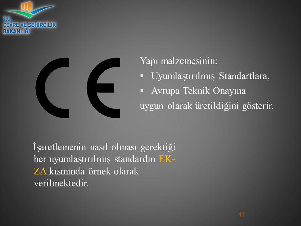 Yapı malzemesinin: Uyumlaştırılmış Standartlara, Avrupa Teknik Onayına. uygun olarak üretildiğini gösterir.