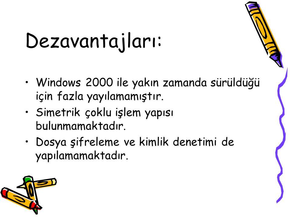 Dezavantajları: Windows 2000 ile yakın zamanda sürüldüğü için fazla yayılamamıştır. Simetrik çoklu işlem yapısı bulunmamaktadır.