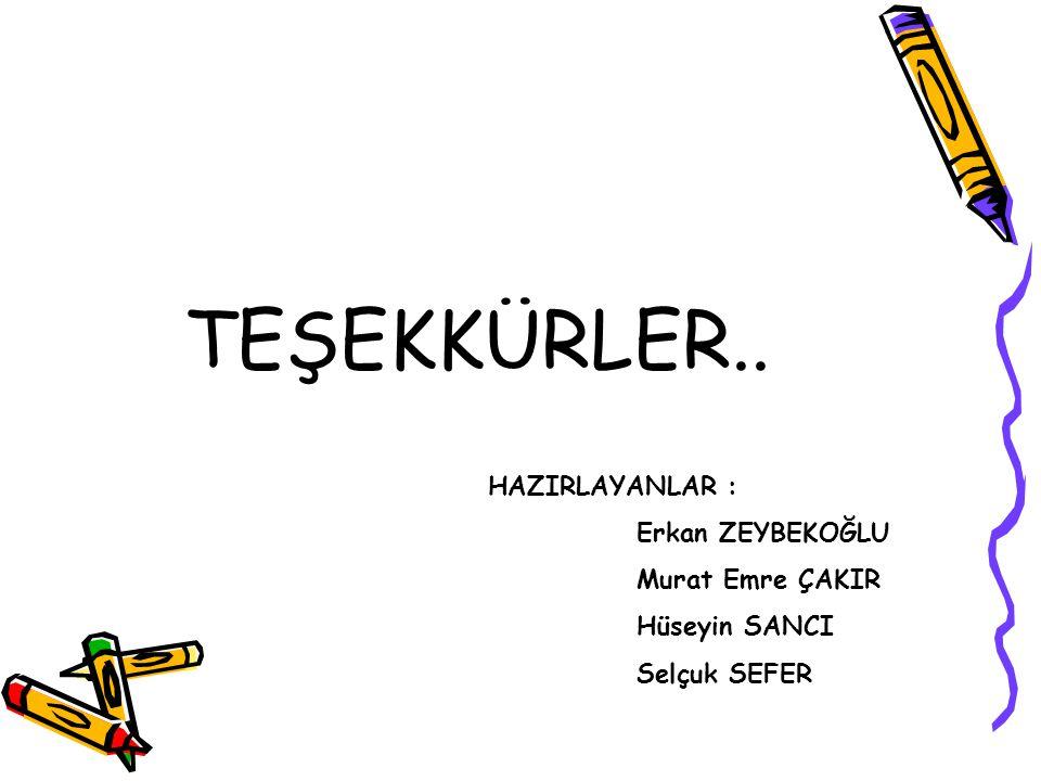 TEŞEKKÜRLER.. HAZIRLAYANLAR : Erkan ZEYBEKOĞLU Murat Emre ÇAKIR