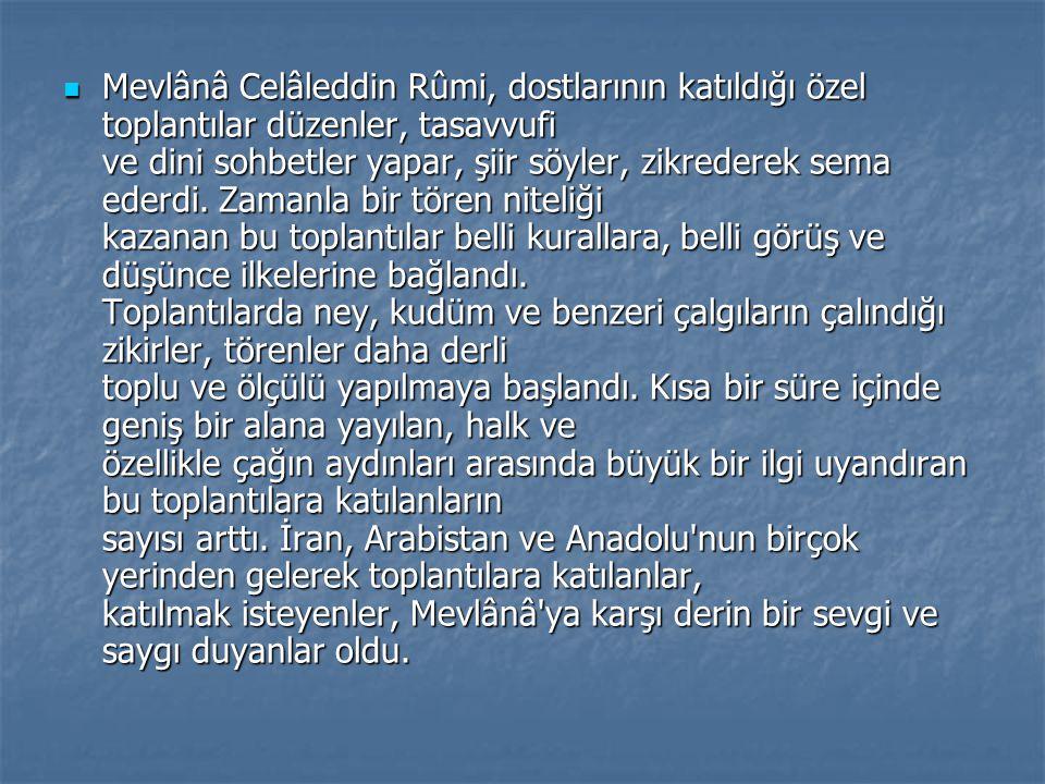 Mevlânâ Celâleddin Rûmi, dostlarının katıldığı özel toplantılar düzenler, tasavvufi ve dini sohbetler yapar, şiir söyler, zikrederek sema ederdi.