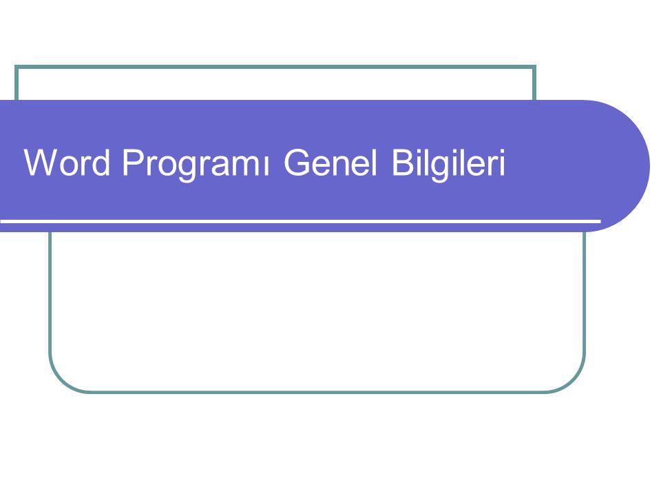 Word Programı Genel Bilgileri