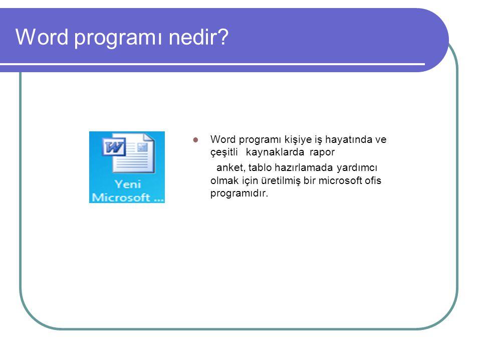 Word programı nedir Word programı kişiye iş hayatında ve çeşitli kaynaklarda rapor.
