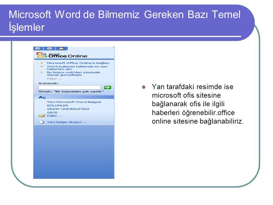 Microsoft Word de Bilmemiz Gereken Bazı Temel İşlemler