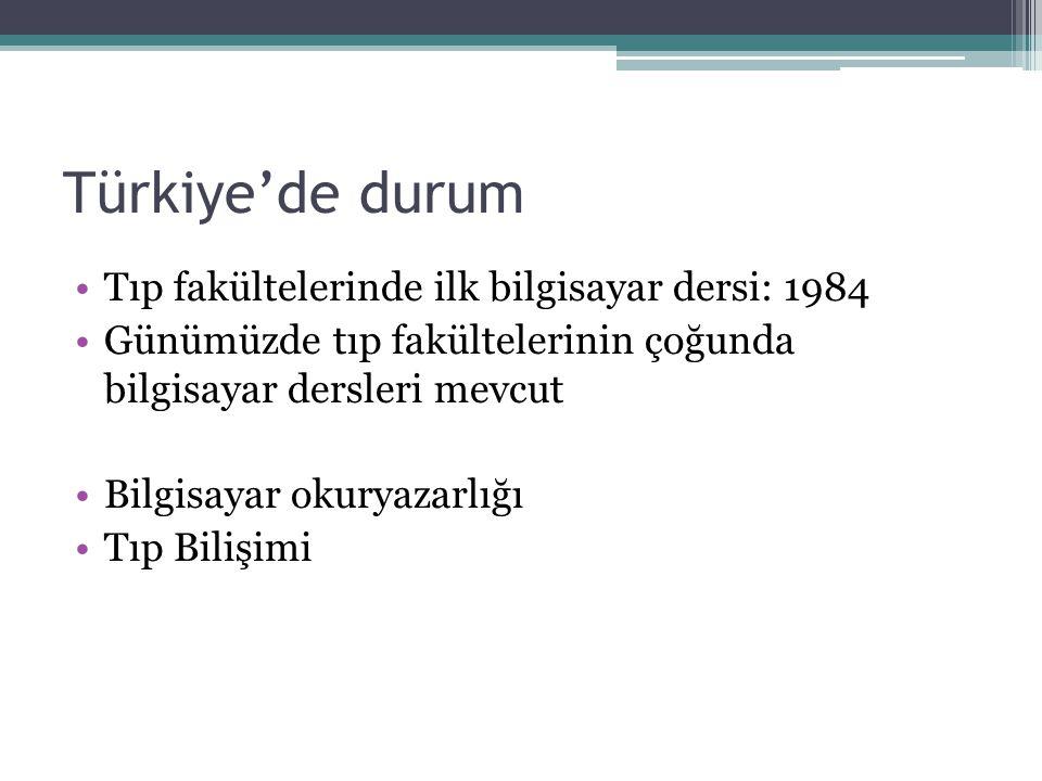 Türkiye'de durum Tıp fakültelerinde ilk bilgisayar dersi: 1984