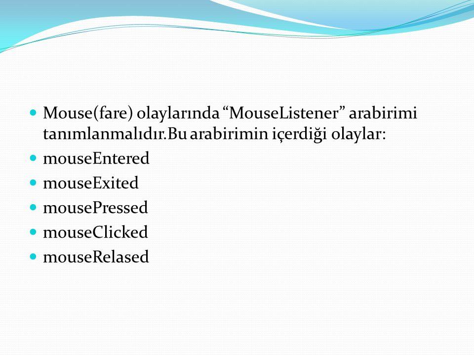 Mouse(fare) olaylarında MouseListener arabirimi tanımlanmalıdır