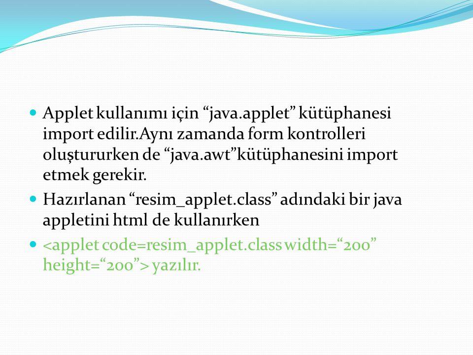 Applet kullanımı için java. applet kütüphanesi import edilir
