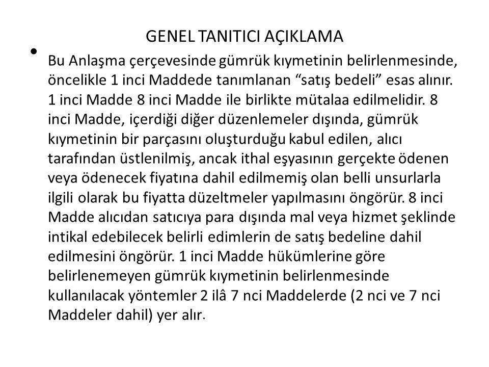 GENEL TANITICI AÇIKLAMA