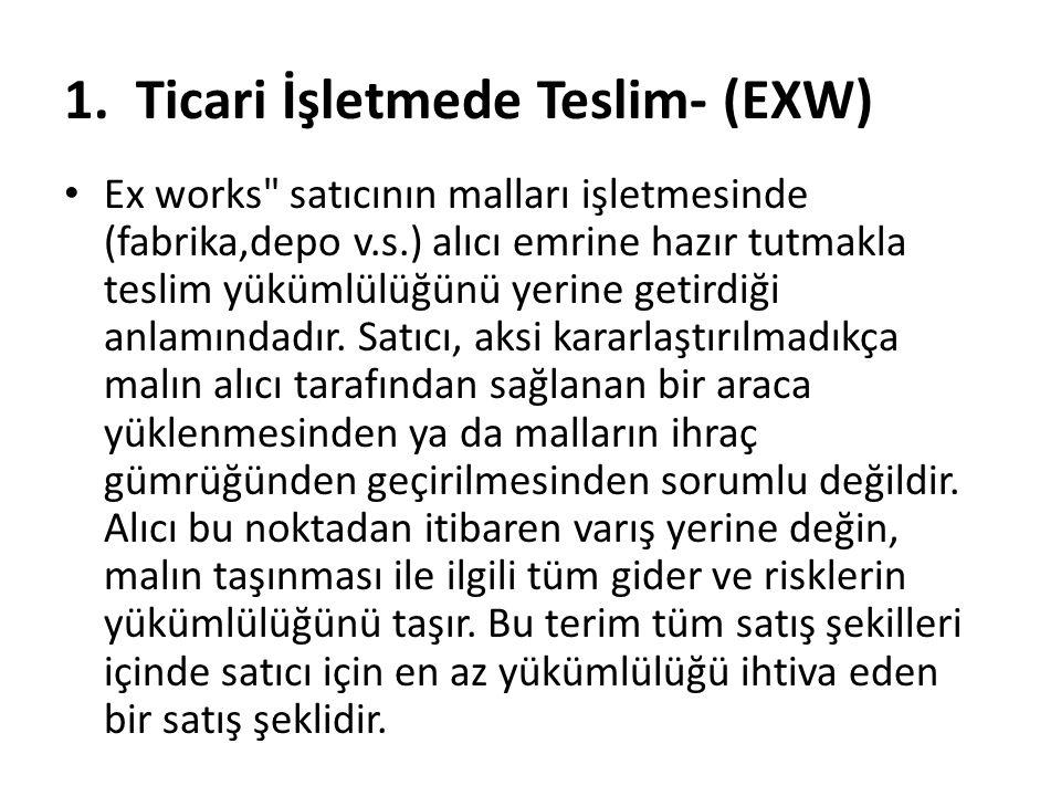 1. Ticari İşletmede Teslim- (EXW)