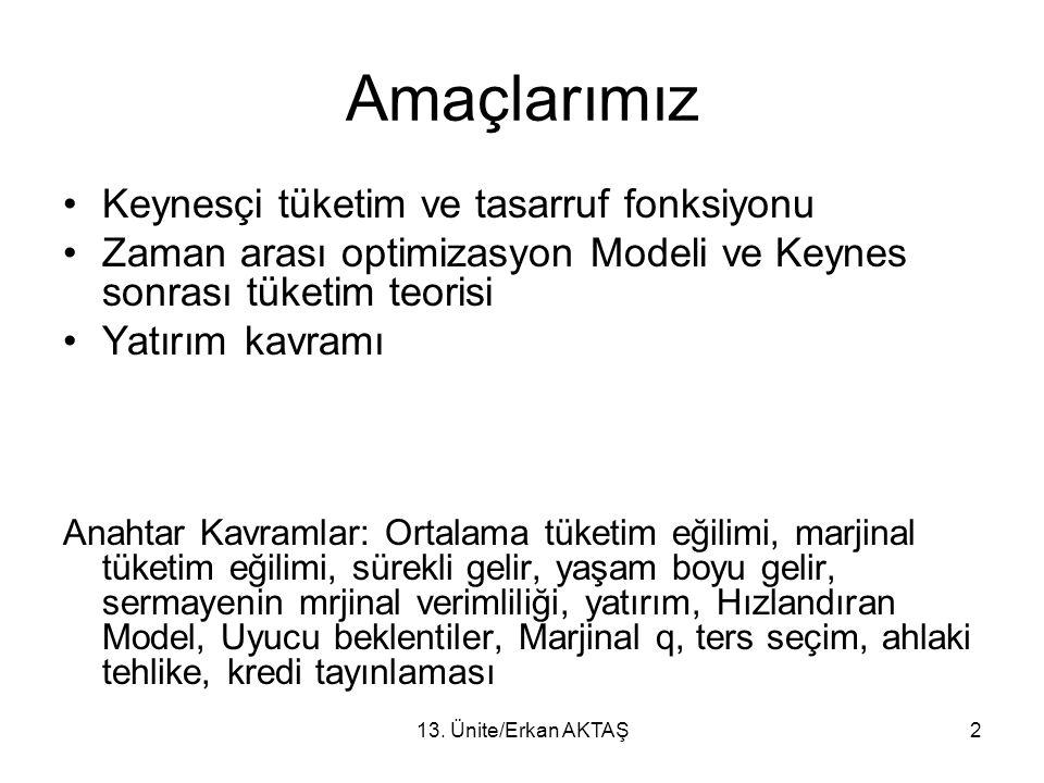 Amaçlarımız Keynesçi tüketim ve tasarruf fonksiyonu