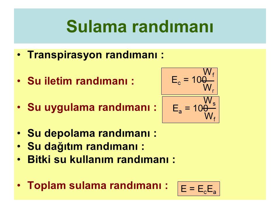 Sulama randımanı Transpirasyon randımanı : Su iletim randımanı :
