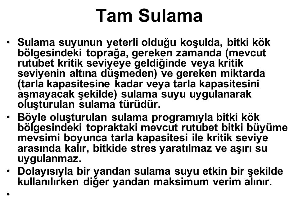 Tam Sulama