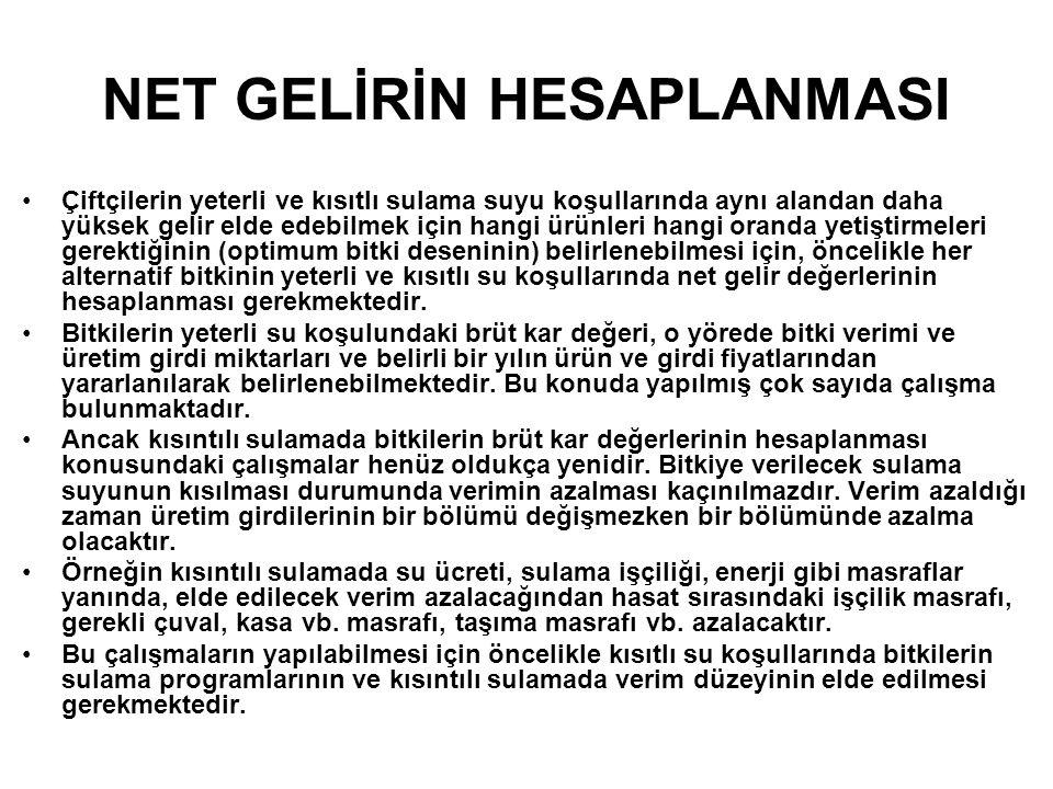 NET GELİRİN HESAPLANMASI
