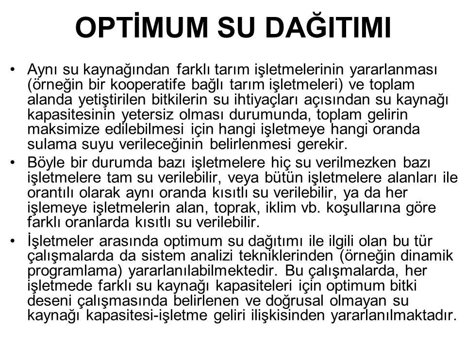 OPTİMUM SU DAĞITIMI