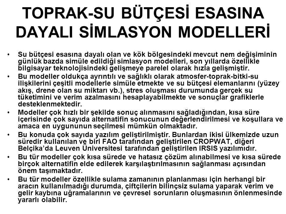 TOPRAK-SU BÜTÇESİ ESASINA DAYALI SİMLASYON MODELLERİ