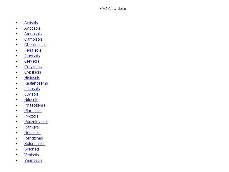 FAO Alt Ordolar Acrisols. Andosols. Arenosols. Cambisols. Chernozems. Ferralsols. Fluvisols. Gleysols.