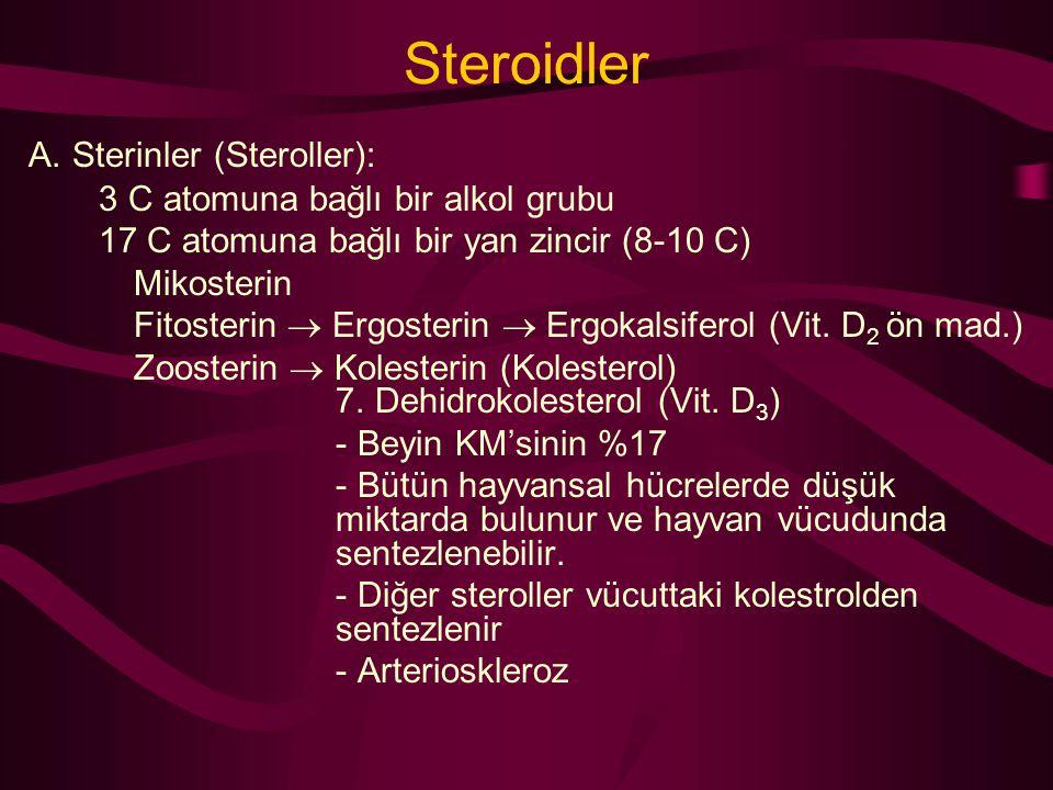 Steroidler A. Sterinler (Steroller): 3 C atomuna bağlı bir alkol grubu