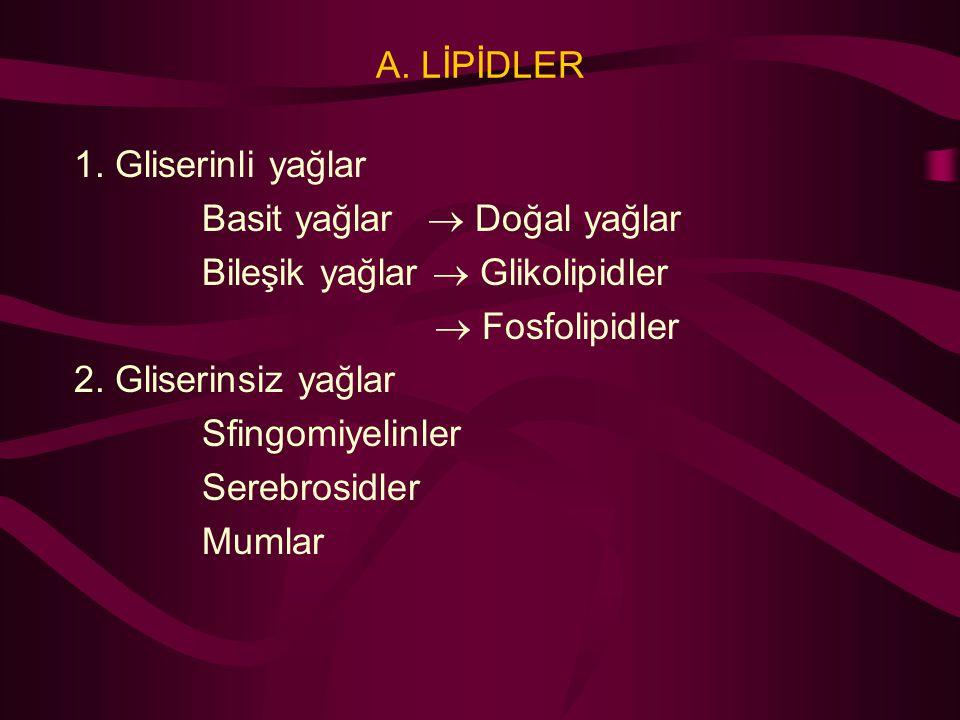 A. LİPİDLER 1. Gliserinli yağlar. Basit yağlar  Doğal yağlar. Bileşik yağlar  Glikolipidler.  Fosfolipidler.