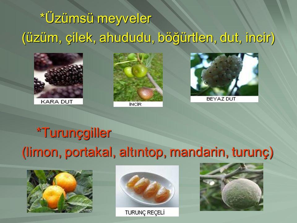 *Üzümsü meyveler (üzüm, çilek, ahududu, böğürtlen, dut, incir) *Turunçgiller.