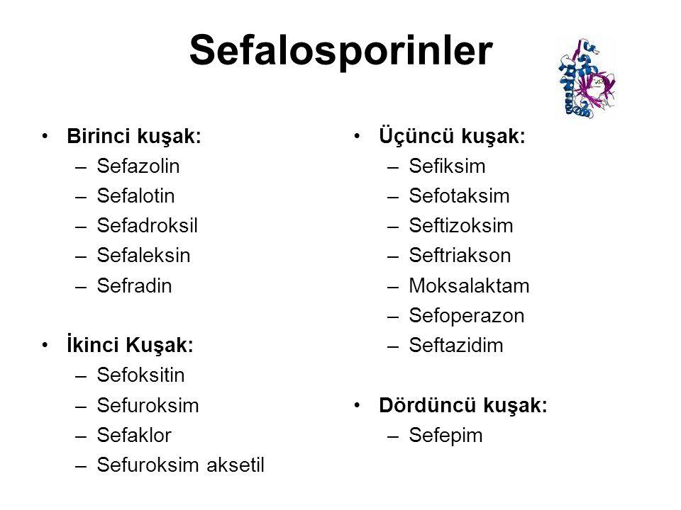 Sefalosporinler Birinci kuşak: Sefazolin Sefalotin Sefadroksil