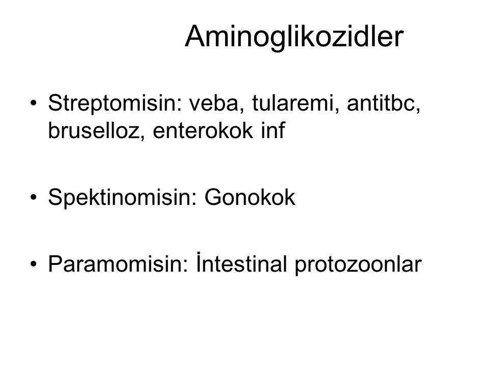 Aminoglikozidler Streptomisin: veba, tularemi, antitbc, bruselloz, enterokok inf. Spektinomisin: Gonokok.