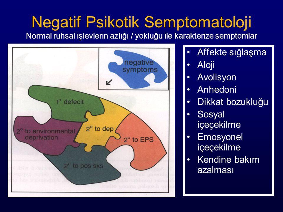 Negatif Psikotik Semptomatoloji Normal ruhsal işlevlerin azlığı / yokluğu ile karakterize semptomlar