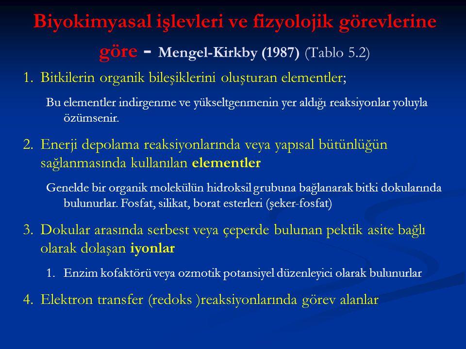 Biyokimyasal işlevleri ve fizyolojik görevlerine göre - Mengel-Kirkby (1987) (Tablo 5.2)