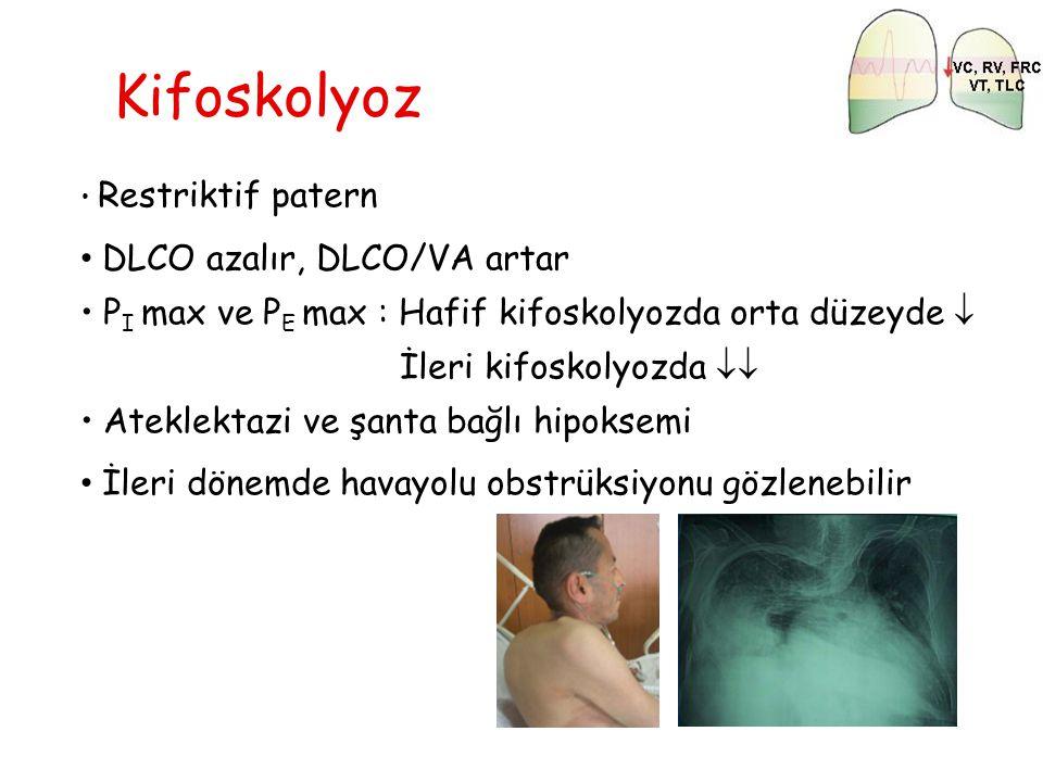 Kifoskolyoz DLCO azalır, DLCO/VA artar