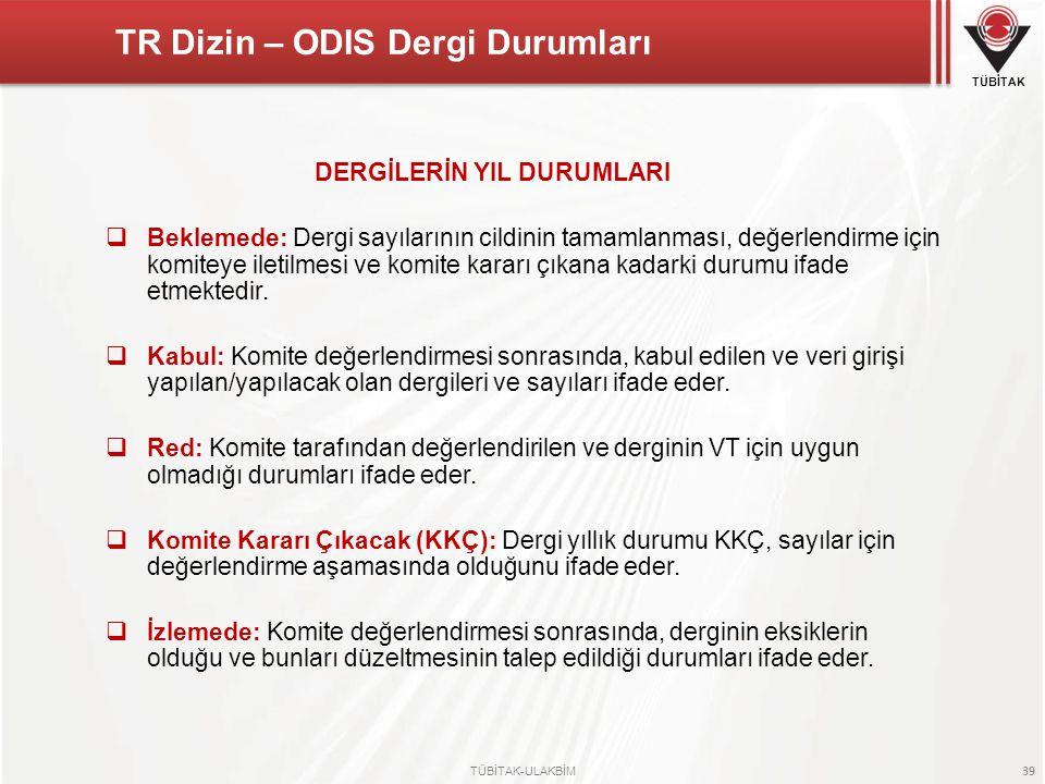 TR Dizin – ODIS Dergi Durumları