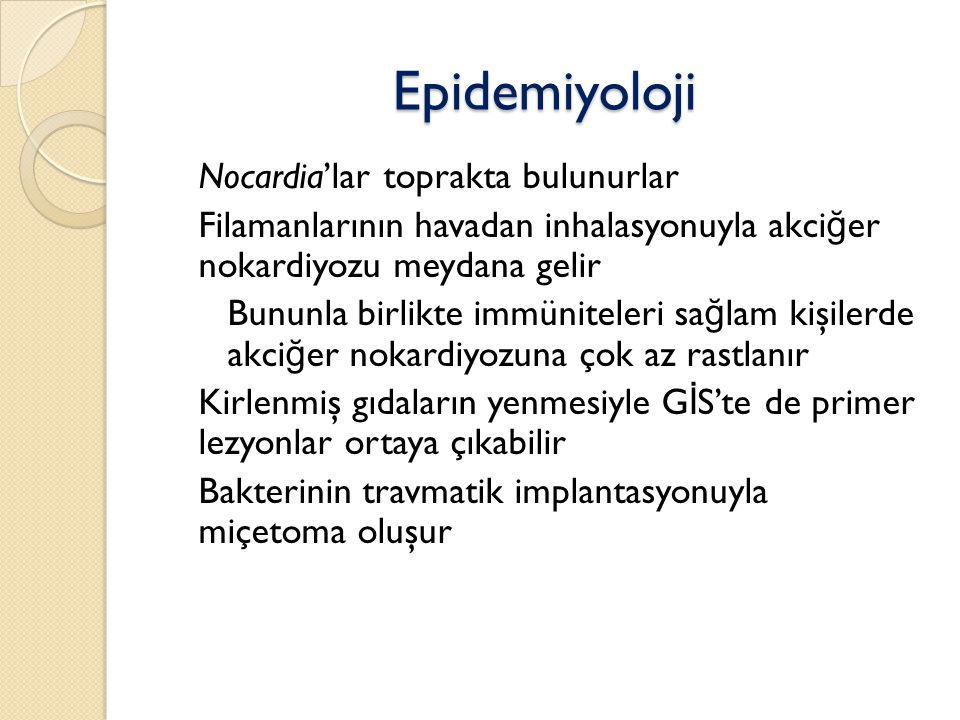 Epidemiyoloji Nocardia'lar toprakta bulunurlar