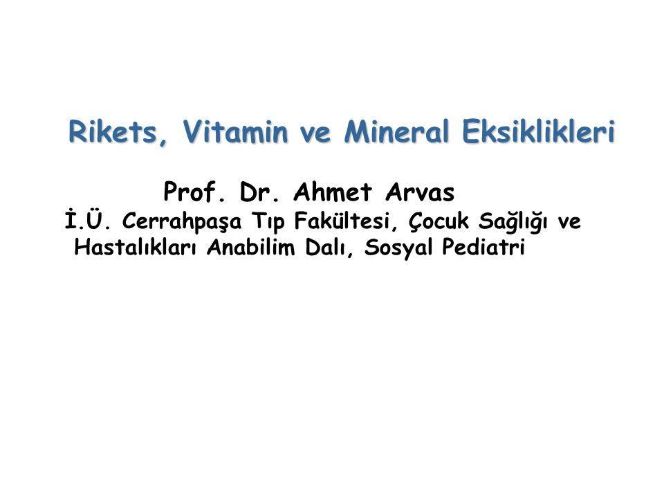 Rikets, Vitamin ve Mineral Eksiklikleri