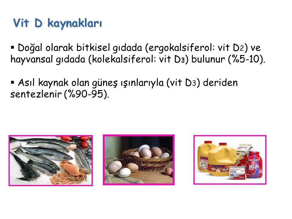 Vit D kaynakları Doğal olarak bitkisel gıdada (ergokalsiferol: vit D2) ve hayvansal gıdada (kolekalsiferol: vit D3) bulunur (%5-10).
