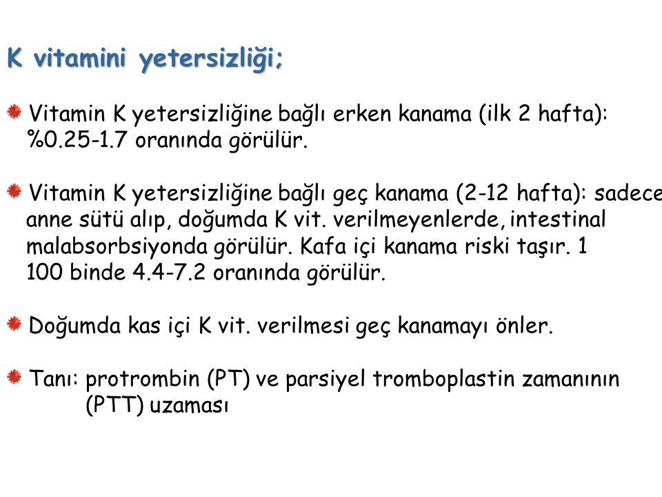 K vitamini yetersizliği;