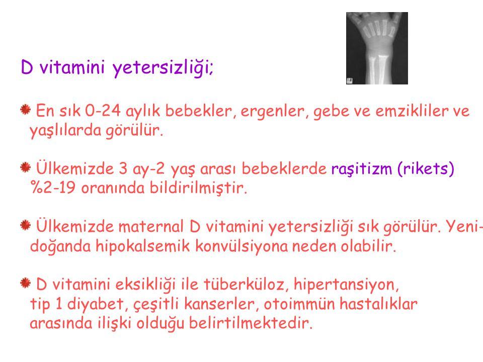 D vitamini yetersizliği;